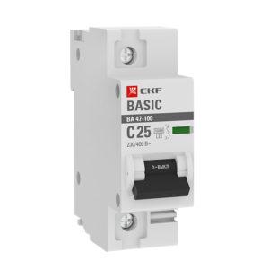 Автоматический выключатель 1P  25А (C) 10kA ВА 47-100 EKF Basic
