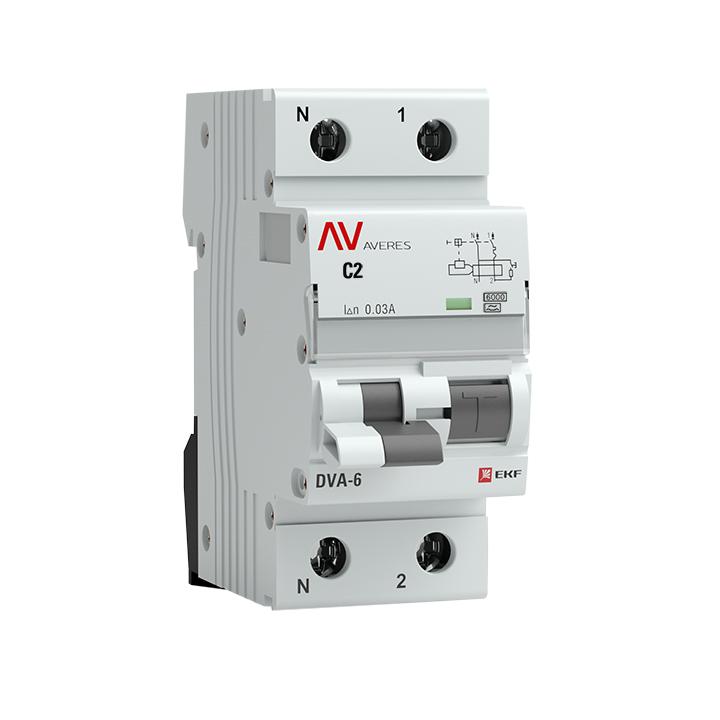 Дифференциальный автомат DVA-6 1P+N  2А (C)  30мА (A) 6кА EKF AVERES