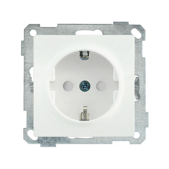 Розетка РС14-1-0-Б с заземляющим контактом с защитной шторкой 16А BOLERO белый IEK