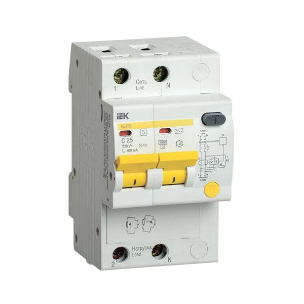 Дифференциальный автоматический выключатель АД12S 2Р 25А 100мА IEK