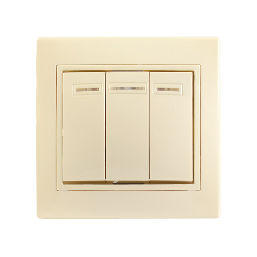 Выключатель 3-клавишный с индикацией ВС10-3-1-ККм 10А КВАРТА кремовый IEK