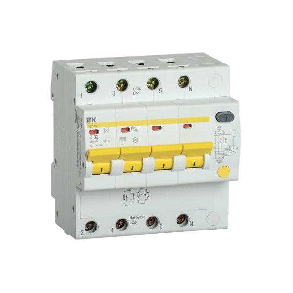 Дифференциальный автоматический выключатель АД14S 4Р 32А 100мА IEK