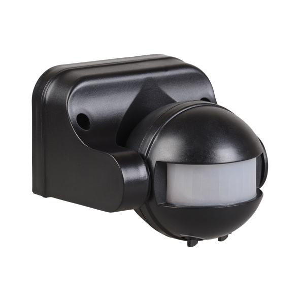 Датчик движения ДД-009 1100Вт 180град 12м IP44 черный IEK