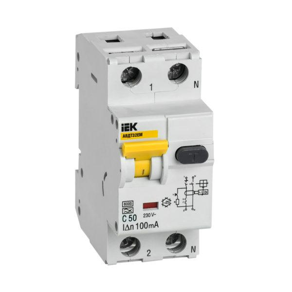 Автоматический выключатель дифференциального тока АВДТ32EM C50 100мА IEK
