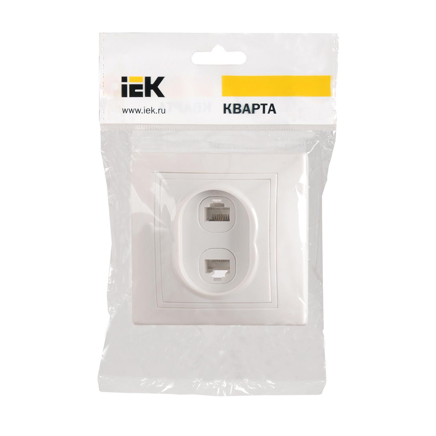 Розетка 2-местная компьютерная и телефонная РК/Т12-КБ КВАРТА белый IEK