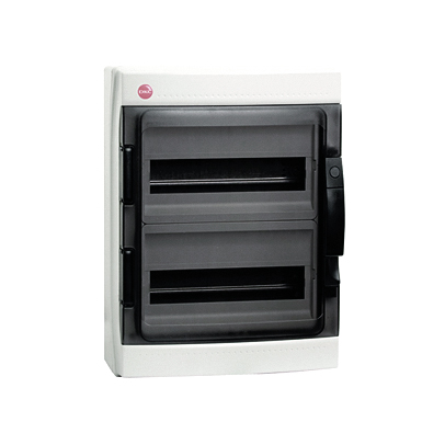 Щиток настен с двер 24мод IP65 сер с усил клем блок 2х87308