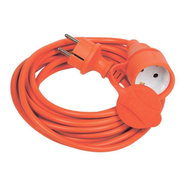 Шнур УШ-01РВ с вилкой и розеткой 2P+PE/50м 3х1,0мм2 IP44 оранжевый IEK