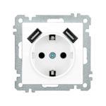 Розетка РЮш10-1-Б с заземляющим контактом с защитной шторкой 16А USBх2 2,1A BOLERO белый IEK 1