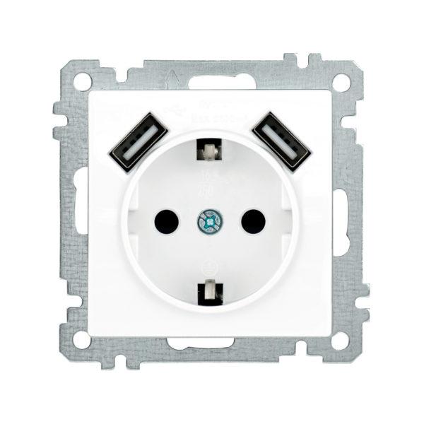 Розетка РЮш10-1-Б с заземляющим контактом с защитной шторкой 16А USBх2 2,1A BOLERO белый IEK