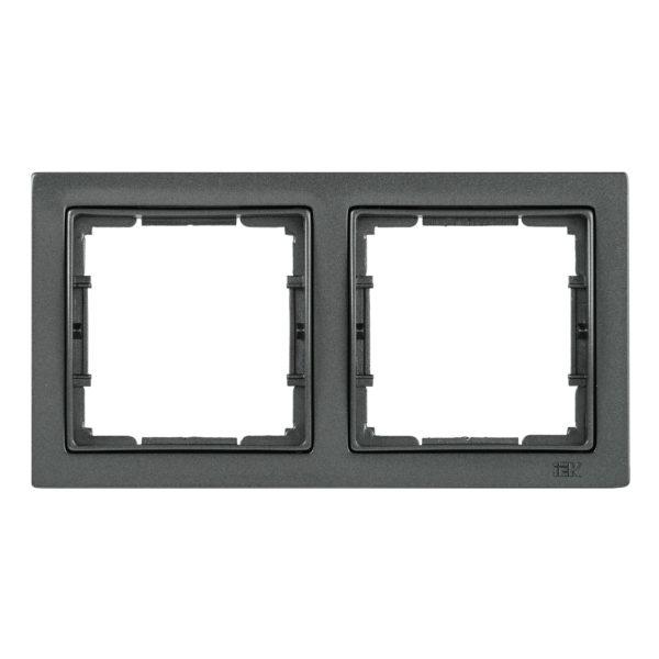 Рамка 2-местная квадратная РУ-2-БА BOLERO Q1 антрацит IEK