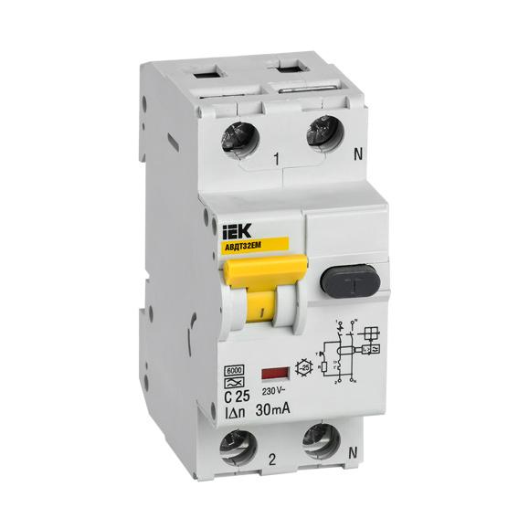 Автоматический выключатель дифференциального тока АВДТ32EM C25 30мА IEK