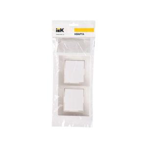 Рамка 2-местная вертикальная РВ-2-КБ КВАРТА белый IEK