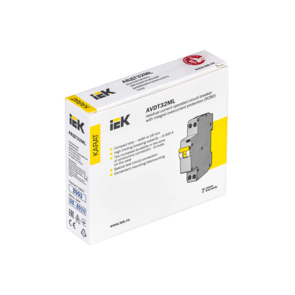 Выключатель автоматический дифференциального тока АВДТ32МL C10 30мА KARAT IEK