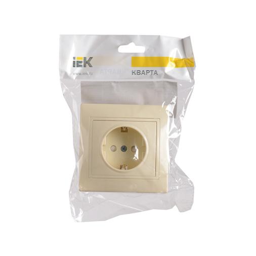 Розетка 1-местная РСш10-3-Км с заземляющим контактом с защитной шторкой 16А керамика КВАРТА кремовый IEK