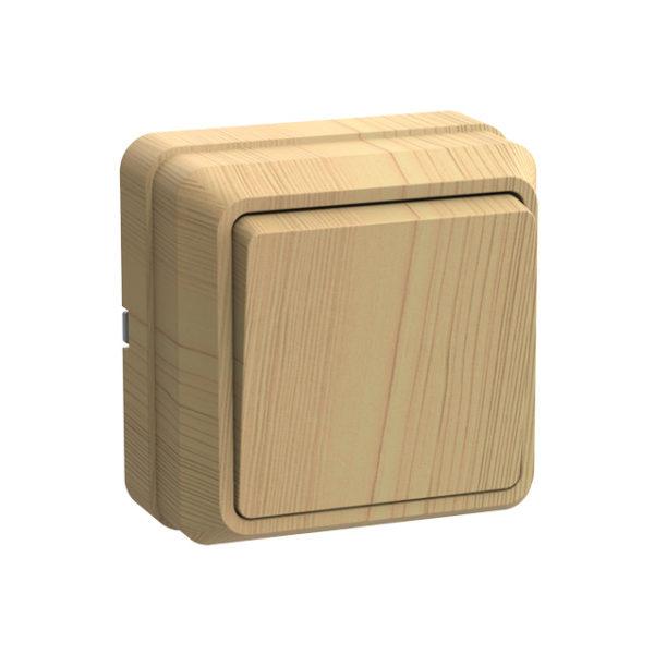 Выключатель 1-клавишный для открытой установки ВС20-1-0-ОС 10А ОКТАВА сосна IEK