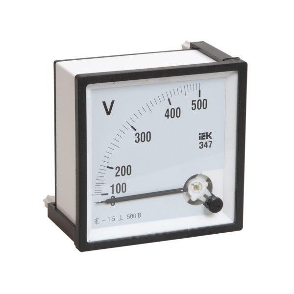 Вольтметр аналоговый Э47 500В класс точности 1,5 96х96мм IEK