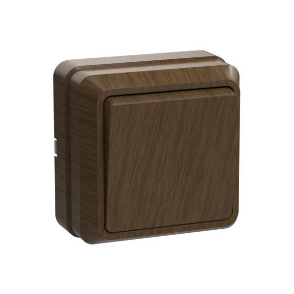Выключатель 1-клавишный для открытой установки ВС20-1-0-ОД 10А ОКТАВА дуб IEK
