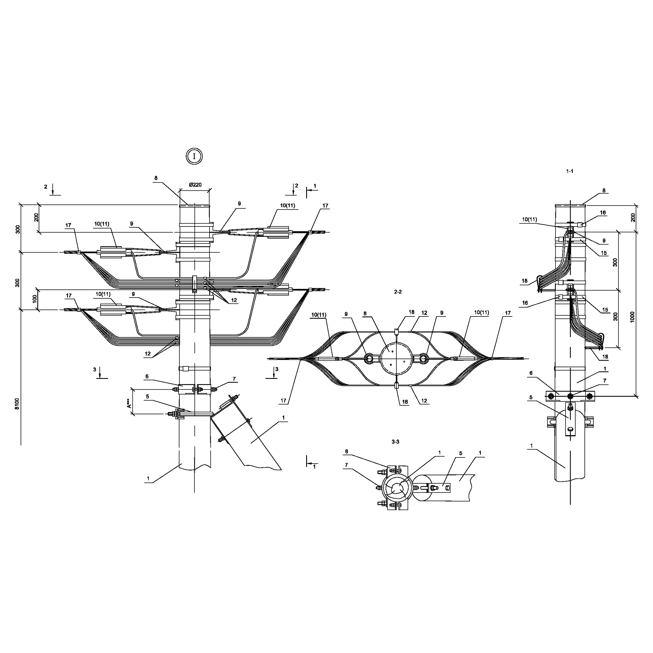 Опора ПАд16 деревянная анкерная переходная двухцепная IEK