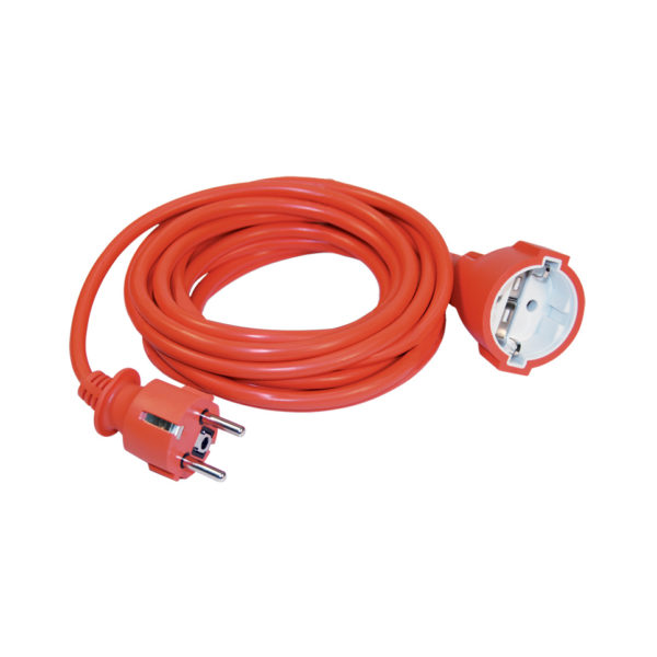 Шнур УШ-01РВ с вилкой и розеткой 2P+PE/5м 3х1,0мм2 оранжевый IEK
