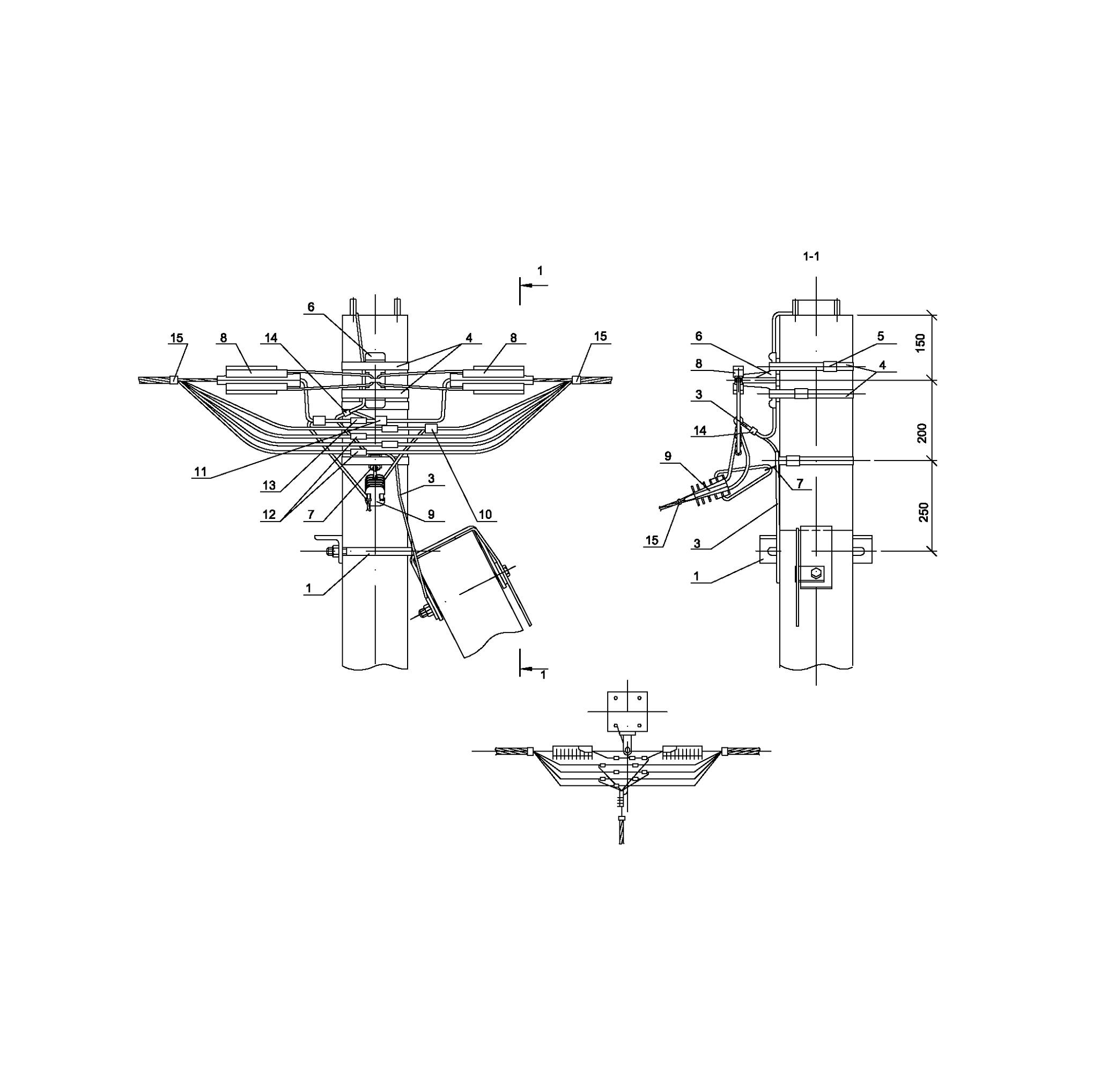 Опора А33 ж/б анкерная концевая одноцепная с ответвлением в одну сторону СИП4-4 IEK