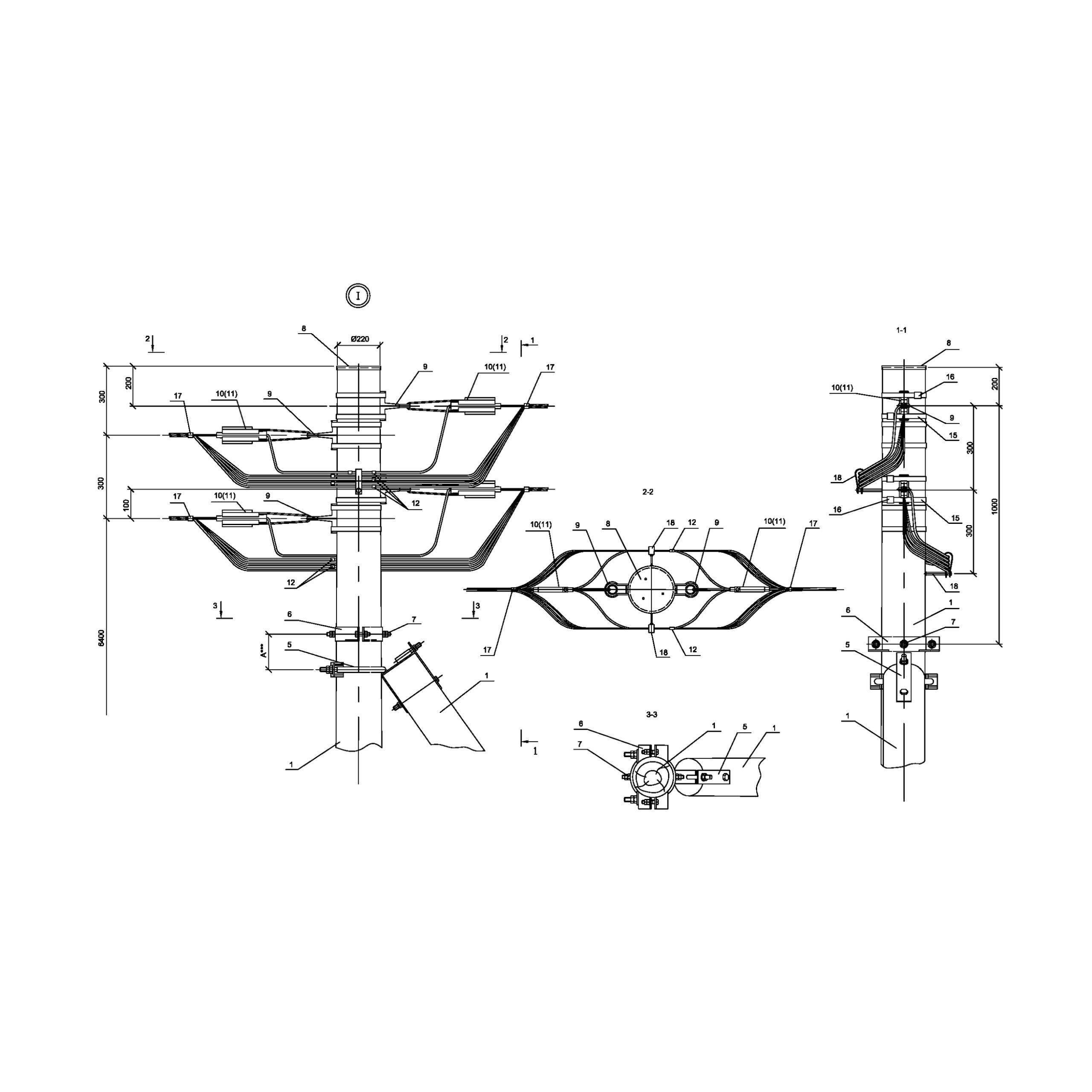 Опора Ад16 деревянная анкерная концевая двухцепная IEK