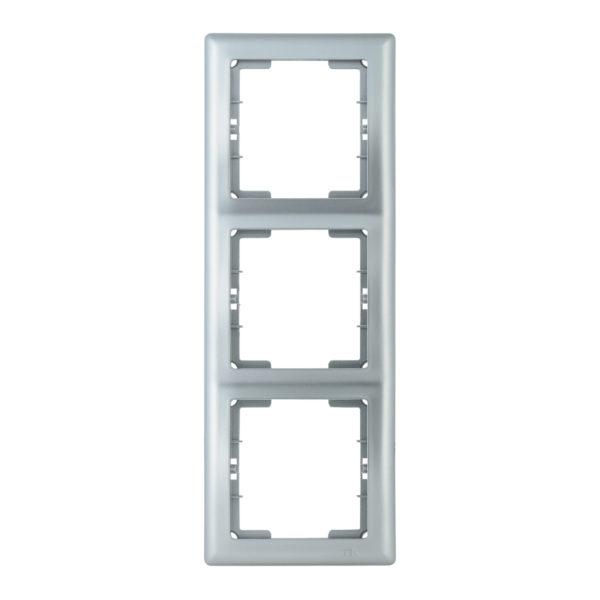 Рамка 3-местная вертикальная РВ-3-БС BOLERO серебряный IEK