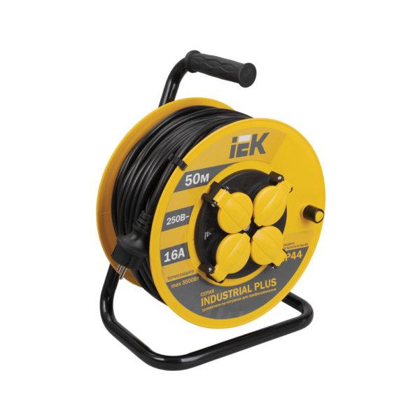 Катушка УК50 с термозащитой 4 места 2P+PE/50м 3х1,5мм2 IP44 INDUSTRIAL PLUS IEK