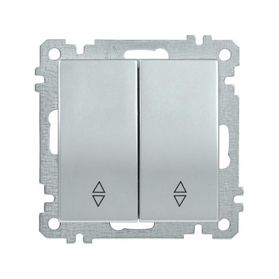 Выключатель 2-клавишный проходной ВС10-2-2-Б 10А BOLERO серебряный IEK
