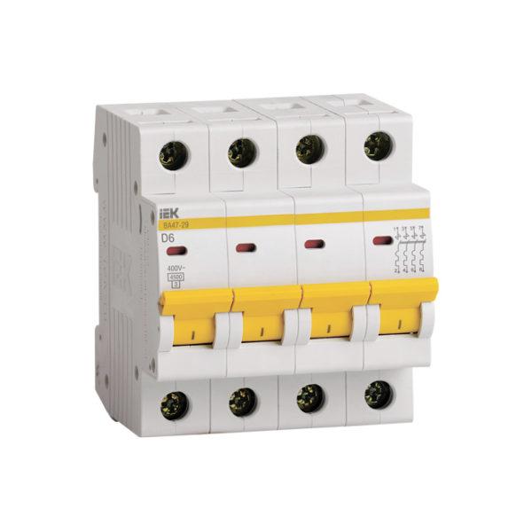 Выключатель автоматический ВА47-29 4Р 6А 4,5кА D IEK