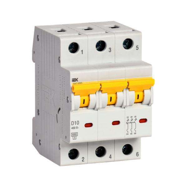 Выключатель автоматический ВА47-60МА без теплового расцепителя 3P 10А 6кА D IEK