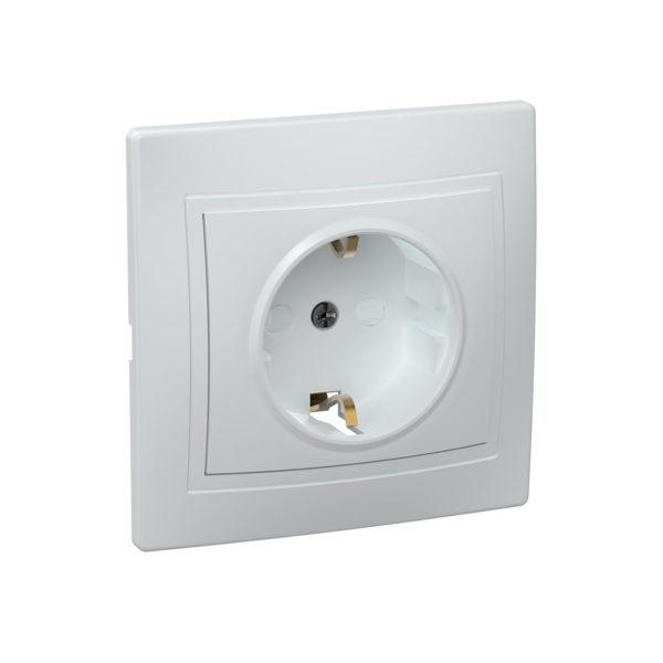 Розетка 1-местная РСш10-3-КБ с заземляющим контактом с защитной шторкой 16А керамика КВАРТА белый IEK