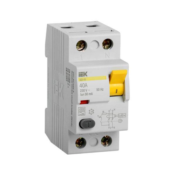 Выключатель дифференциальный (УЗО) ВД1-63 2Р 40А 30мА тип А IEK
