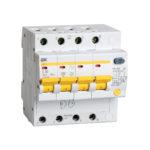 Дифференциальный автоматический выключатель АД14 4Р 50А 30мА IEK 1
