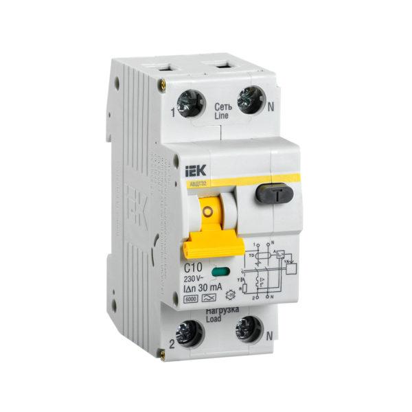 Автоматический выключатель дифференциального тока АВДТ32 C10 IEK