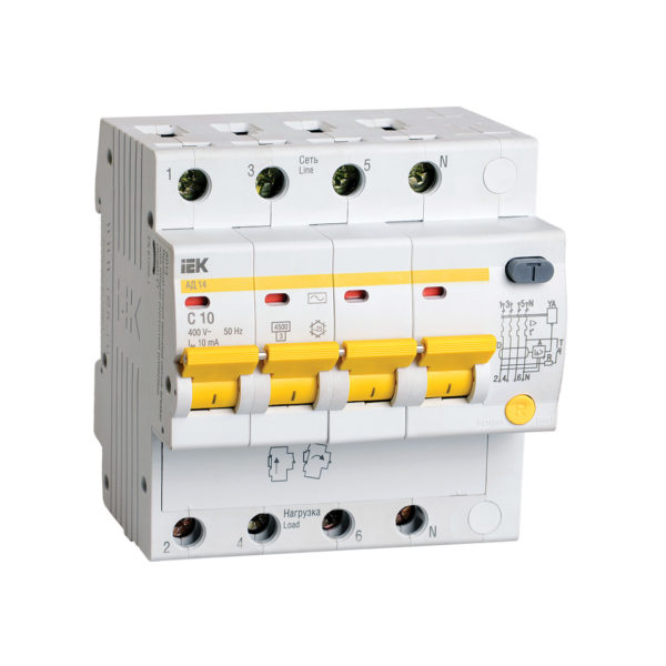 Дифференциальный автоматический выключатель АД14 4Р 10А 10мА IEK