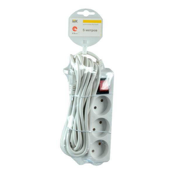 Удлинитель У3К-выкл. 3 места 2P/5м 2х0,75мм2 10А/250В IEK