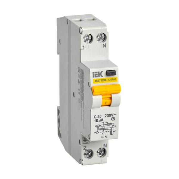 Выключатель автоматический дифференциального тока АВДТ32МL C20 10мА KARAT IEK