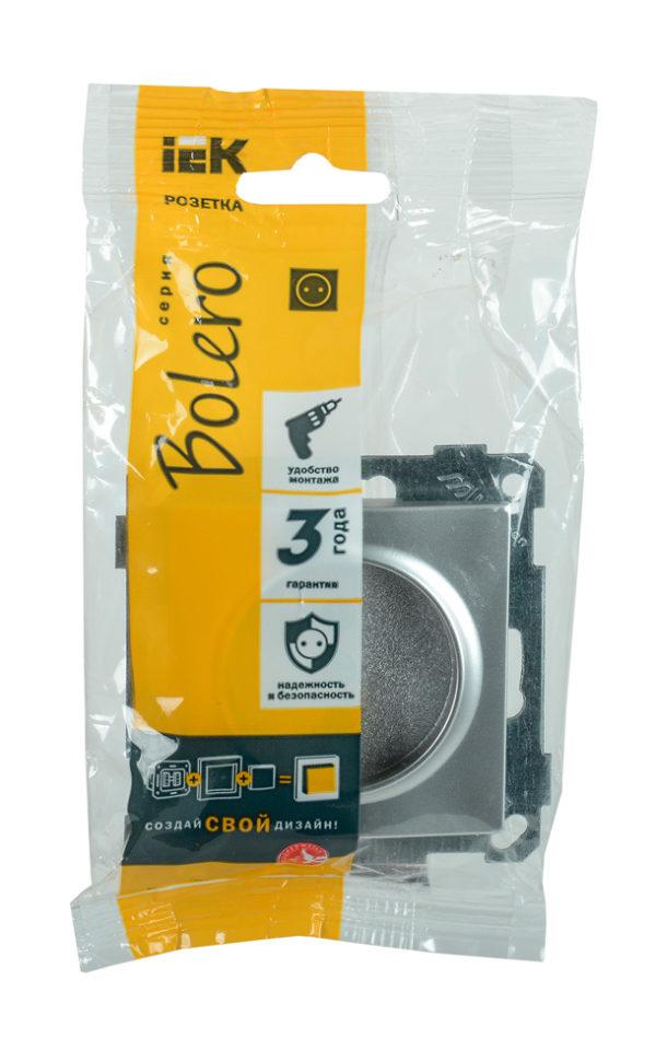 Розетка РС14-1-0-Б с заземляющим контактом с защитной шторкой 16А BOLERO серебряный IEK