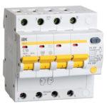 Дифференциальный автоматический выключатель АД14 4Р 50А 100мА IEK 1