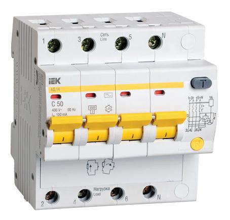 Дифференциальный автоматический выключатель АД14 4Р 50А 100мА IEK