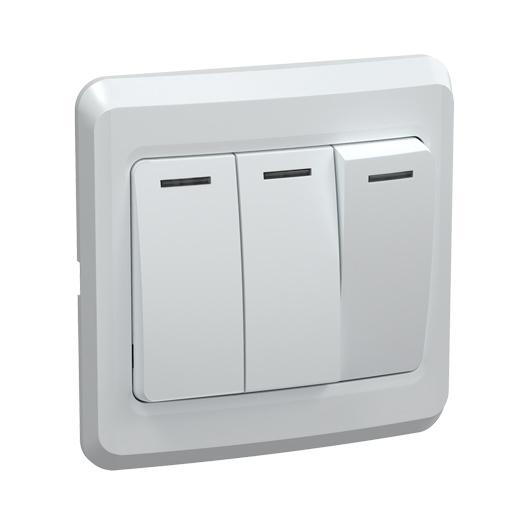 Выключатель 3-клавишный ВС10-3-0-ВБ 10А ВЕГА белый IEK