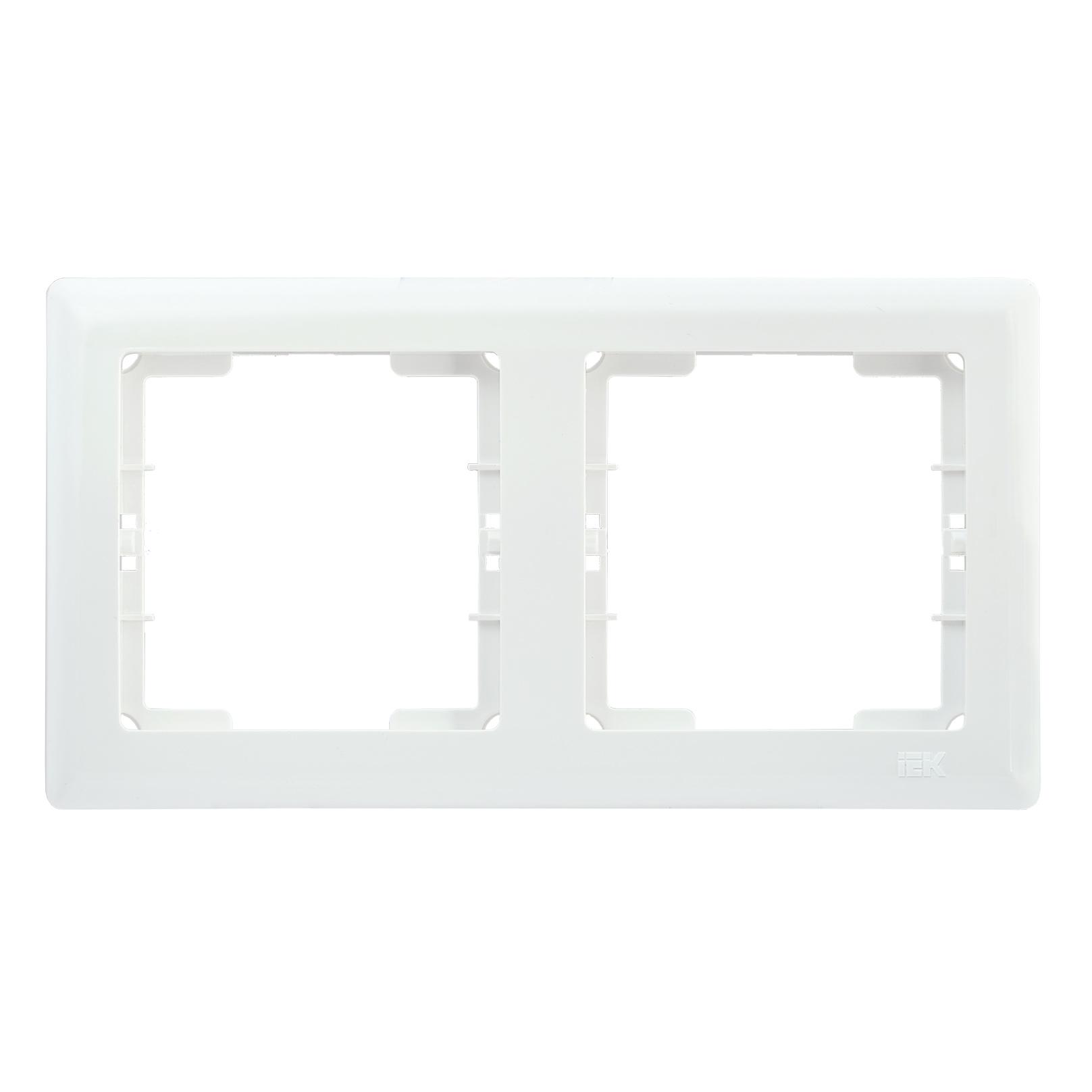 Рамка 2-местная горизонтальная РГ-2-ББ BOLERO белый IEK