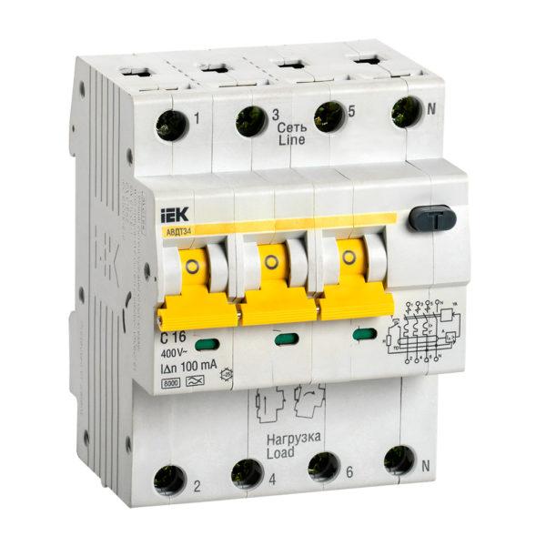 Автоматический выключатель дифференциального тока АВДТ34 C16 100мА IEK