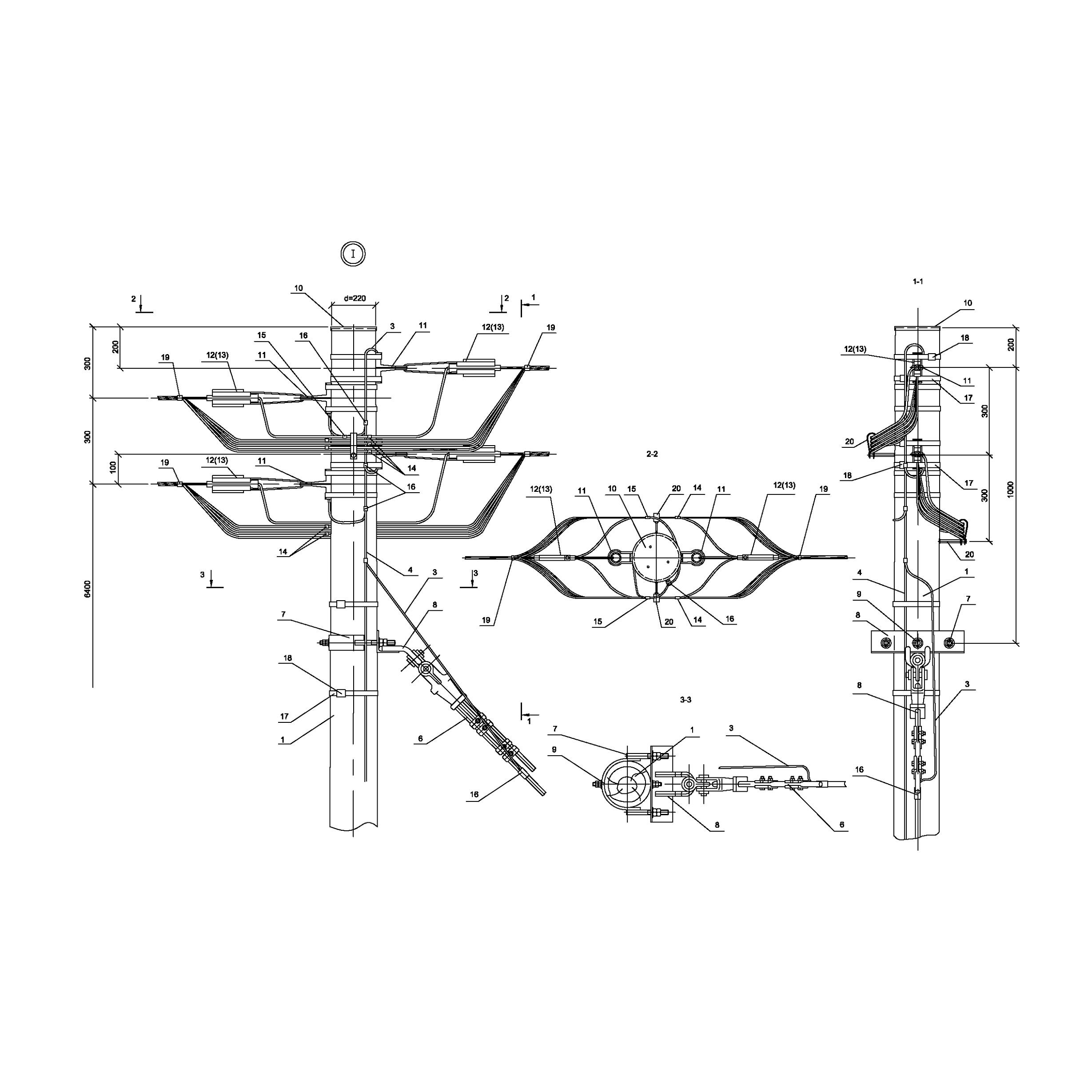 Опора Кд161 деревянная концевая двухцепная IEK