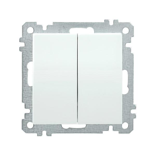 Выключатель 2-клавишный ВС10-2-0-Б 10А BOLERO белый IEK