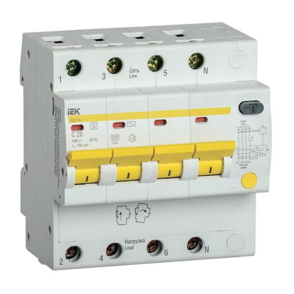 Дифференциальный автоматический выключатель АД14S 4Р 20А 100мА IEK