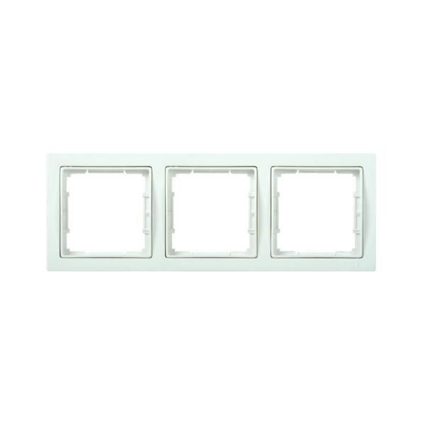 Рамка 3-местная квадратная РУ-3-ББ BOLERO Q1 белый IEK