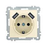 Розетка РЮш10-1-Б с заземляющим контактом с защитной шторкой 16А USBх2 2,1A BOLERO кремовый IEK 1