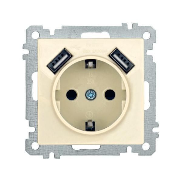 Розетка РЮш10-1-Б с заземляющим контактом с защитной шторкой 16А USBх2 2,1A BOLERO кремовый IEK