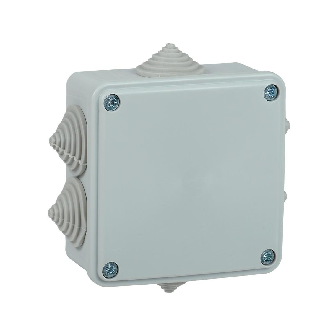 Коробка распаячная КМ для открытой проводки 100х100х45мм IP44 6 вводов (RAL 7035) IEK